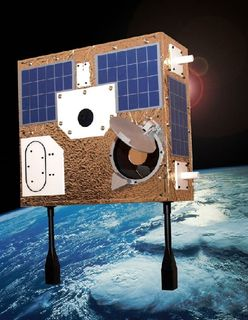 Image of a rectangular-shaped brown telescope with square solar panels on its surface and a round door opening to the lower left, in orbit in space around Earth.