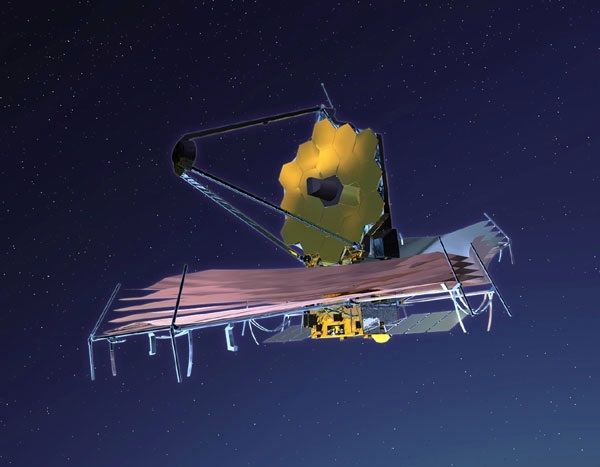 Image of a telescope with a deployed, circular yellow antenna located above a series of solar panels. The rectangular yellow control box is beneath the telescope.