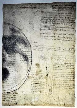 Sketch in black on yellowed paper of the right side of the moon with handwritten text and ink stains