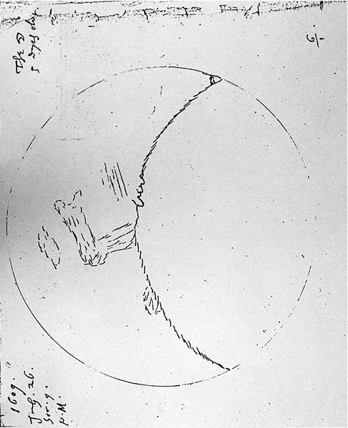 Sketch in black against a white background representing a quarter moon with small lines providing geographic details