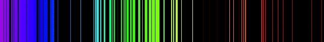 Vertical lines on a horizontal black band representing the colour spectrum from violet to red, separated by black spaces of varying widths