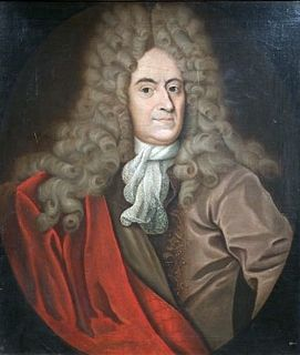 Painted portrait of a man with a full head of very long, curly hair and a mantle of red fabric draped over his brown suit