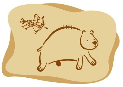 Drawing against a beige background of a bird hunting a bear with a bow