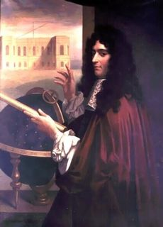 Painted portrait of a man  standing in profile holding a rolled document in his left hand and using his right hand to point to a drawing representing a world globe and a building