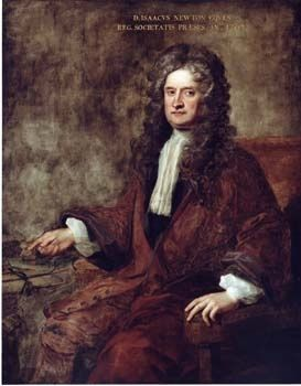 Oil portrait of a man with long, curly brown hair wearing a jabot and wine-red jacket, seated in a brown armchair.