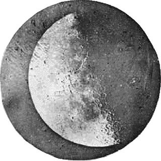Black and white daguerreotype of the left side of the moon showing craters and textures on its surface