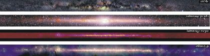 Four panoramic, superposed images of the Milky Way. The first is darker, the second very luminous at the centre, the third is red and the fourth is reddish purple with a long luminous line